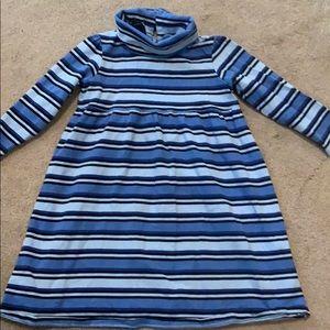 Lands end turtleneck long sleeve stripe dress
